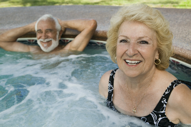 Health Benefits of Spas - Older couple receiving hydrotherapy